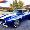 Blue Camaro Car paint by numbers