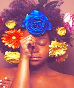 Floral Afro paint by numbers
