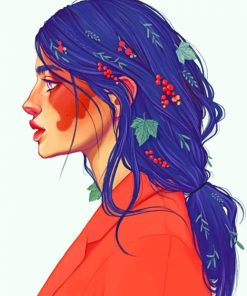 Floral Hair Art paint by numbers