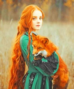 Ginger Girl With Fox paint by numbers
