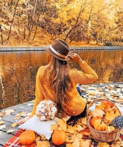 Girl Enjoying Autumn View paint by numbers