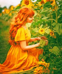 Girl In Sunflowers Field paint by numbers