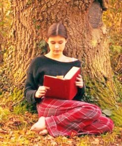 Girl Reading Book Under Tree paint by numbers