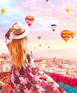 Girl Watching Hot Air Balloons paint by numbers