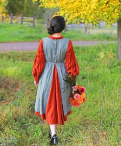 Girl With Vintage Dress In Garden paint by numbers
