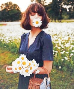 Girl And Daisy Flowers paint by numbers