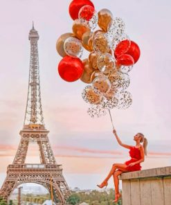 Girl Holding Balloons In Eiffel Tower paint by numbers
