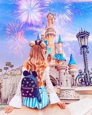 Girl In Disneyland Park paint by numbers