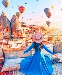 Girl In Cappadocia Sultan Cave Suites paint by numbers