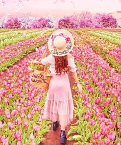 Girl In Pink Flowers Field paint by numbers