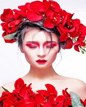 Girl With Red Flowers In Hair paint by numbers