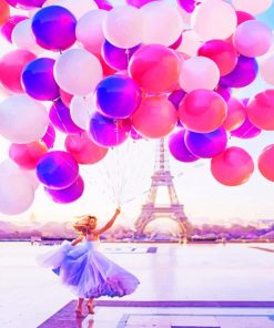 Girl With Balloons In Paris paint by numbers