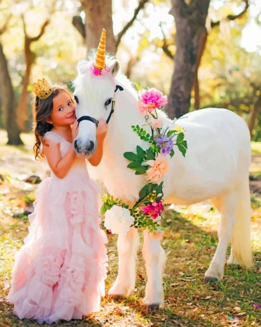 Girl With Mini Horse Unicorn paint by numbers