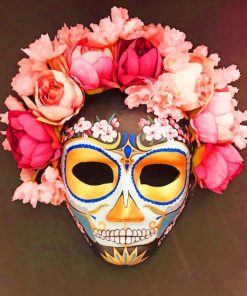 Halloween Floral Mask paint by numbers