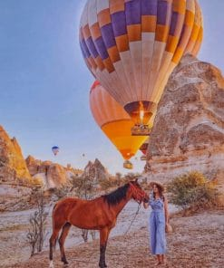 Woman And Her Hose With Hot Air Balloons paint by numbers