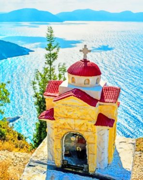 Kefalonia Church Greece paint by numbers