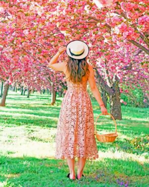 Lady In Cherry Blossom Garden paint by numebrs