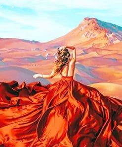 Lady Wearing Flowy Dress In Desert paint by numbers