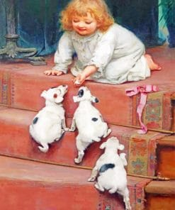 Little Girl Taking Care Of Pets paint by numbers