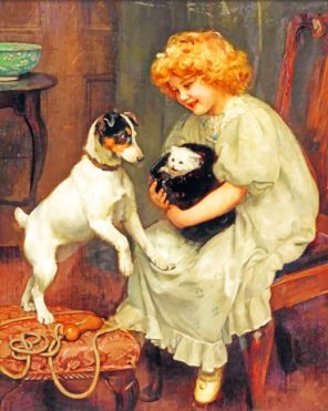 Little Girl And Pets paint by numbers