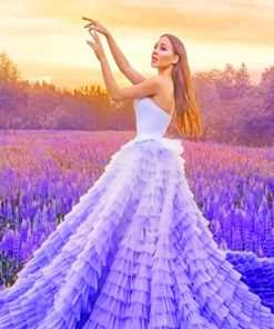 Long Dress Girl In Lavender Field paint by numbers