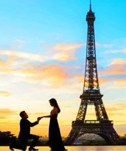 Marriage Proposal In Paris Silhouette paint by numbers