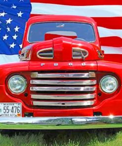 Old Truck And Flag paint by numbers
