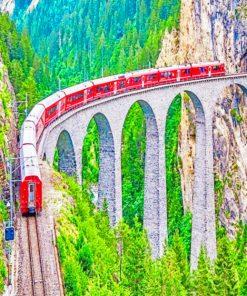 Parc Ela Train Switzerland paint by numbers