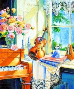 Piano And Violin Still Life paint by numbers