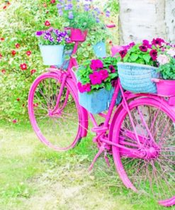 Pink Bicycle Decor paint by numbers