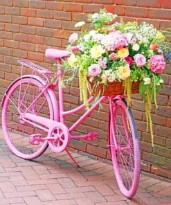 Pink Bike With Flowers paint by numbers