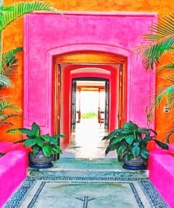 Pink Mexican Architecture paint by numbers