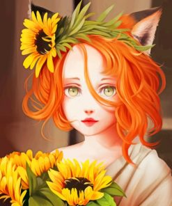 Pretty Sunflowers Girl paint by numbers