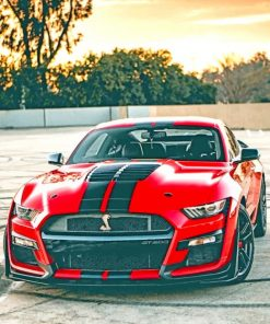 Red And Black Ford Car paint by numbers