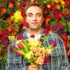 Robert Pattinson And Colorful Flowers paint by numbers