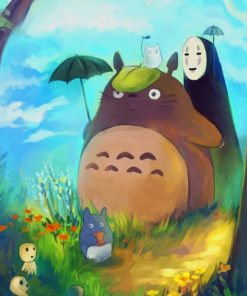 Totoro And No Face paint by numbers Paint by numbers paint by numbers