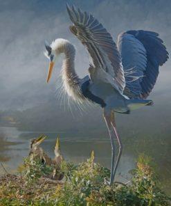 Vintage Great Blue Heron Paint by numbers