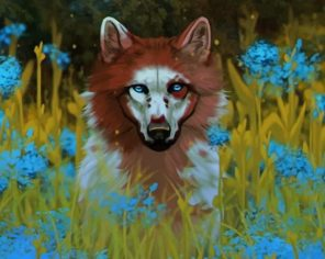 Wolf dog And Flowers paint by numbers