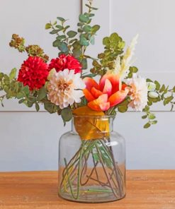 Aesthetic Flowers And Glass Vase Paint by numbers