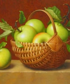 Aesthetic Green Apples In A Basket paint by numbers