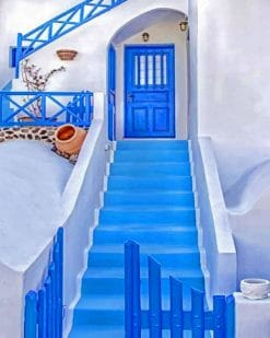 Aesthetic House In Santorini Paint by numbers