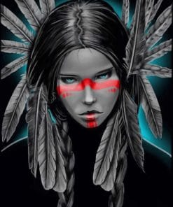 Aesthetic Native American Girl Paint by numbers