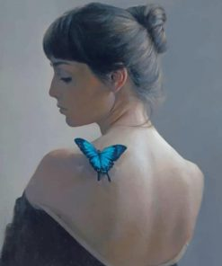 Aesthetic Woman And Blue Butterfly Paint by numbers