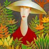 Aesthetic Woman Wearing A Sunhat Paint by numbers