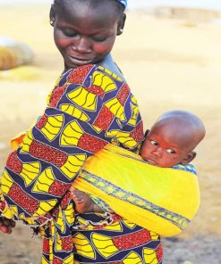 African Lady With Child paint by numbers