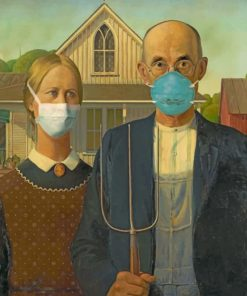 American Gothic With Masks Paint by numbers