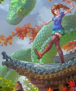 Anime Girl And Green Snake Paint by numbers