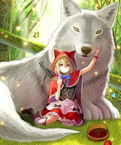 Anime Girl And Big Wolf paint by numbers