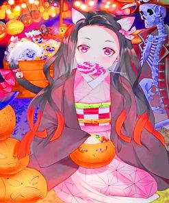 Anime Girl Enjoying The Halloween Paint by numbers