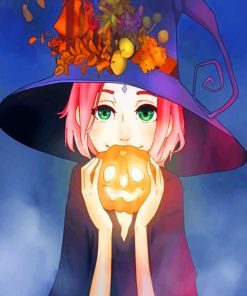 Anime Girl In Halloween Paint by numbers